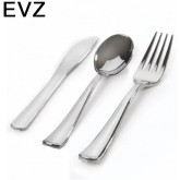 EvZ 100 Sets Plastic Silverware, Looks Like Silver Cutlery Combo of 300 Pieces Includes 100 Forks, 100 Knives, 100 Spoons