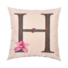 EvZ Homie Pillow Covers Letter Decorative Throw Pillow Case Home Decor Design Gift Square, 18 X 18 inch, Coffee Beans & Flowers, H