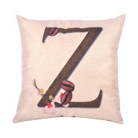 EvZ Homie Pillow Covers Letter Decorative Throw Pillow Case Home Decor Design Gift Square, 18 X 18 inch, Coffee Beans & Flowers, Z