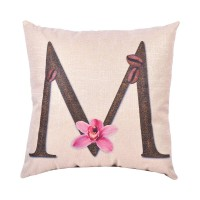 EvZ Homie Pillow Covers Letter Decorative Throw Pillow Case Home Decor Design Gift Square, 18 X 18 inch, Coffee Beans & Flowers, M
