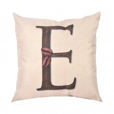 EvZ Homie Pillow Covers Letter Decorative Throw Pillow Case Home Decor Design Gift Square, 18 X 18 inch, Coffee Beans & Flowers, E