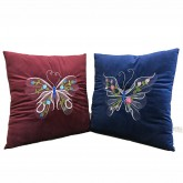 "Decorative Square 18 x 18 Inch Pillow, Perfect Embroidery Indoor Throw Pillow, 18"" Butterfly, Saloon Living Bedding Room Cushion, Set of 2"