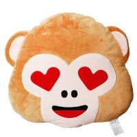 EvZ 32cm Emoji Smiley Emoticon Light Brown Round Cushion Stuffed Plush Soft Pillow