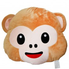 EvZ 32cm Emoji Smiley Emoticon Light Brown Round Cushion Stuffed Plush Soft Pillow