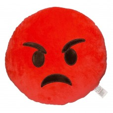 EvZ 32cm Emoji Smiley Emoticon Red Round Cushion Stuffed Plush Soft Pillow Rage