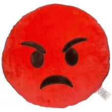 EvZ 32cm Emoji Smiley Emoticon Red Round Cushion Stuffed Plush Soft Pillow Rage