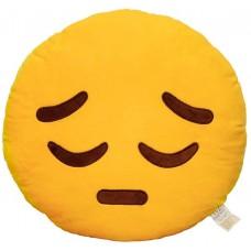 EvZ 32cm Emoji Smiley Emoticon Yellow Round Cushion Stuffed Plush Soft Pillow (Pensive)