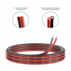 14 Gauge Silicone Electric Wire, EvZ 33ft 14AWG Flexible 2 Conductor Parallel Cable, 2pin Red Black, High Temperature Resistant, Single Color LED Strip Extension