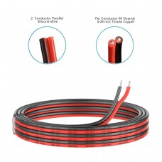 22 Gauge Silicone Electric Wire, EvZ 33ft 22AWG Flexible 2 Conductor Parallel Cable, 2pin Red Black, High Temperature Resistant, Single Color LED Strip Extension