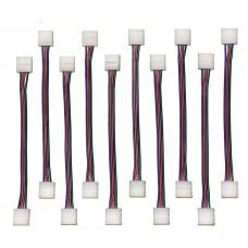 EvZ 10PCS LED 5050 RGB Strip Light Connector 4 Pin Conductor 10 mm Wide Strip to Strip Jumper