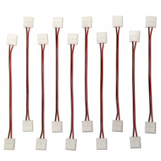 EvZ 10PCS LED 5050 Single Colour Strip Light Connector 2 Pin Conductor 10 mm Wide Strip to Strip Jumper