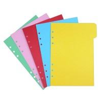 EvZ 5 Color Index Per Tab for 7 Inches Journal Organizer Diary A6 Notepad Notebook 6 Holes Ring Binder, 5 Random Colors Pcs