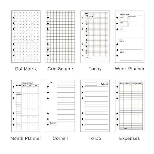 EvZ A6 Refill Month Planner Paper, 6 Holes Ring Binder