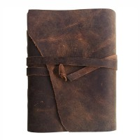 Leather Journal Writing Notebook, Antique Vintage Handmade Bound Daily Notepad, 7 x 5 Inches, Unlined Paper, Best Gift for Art Sketchbook & Travel Steno Memo to Write in, Brown