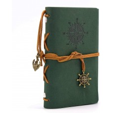 Leather Writing Journal Notebook, EvZ 5 Inches Vintage Nautical Spiral Blank String Diary Notepad Sketchbook Travel to Write in, Unlined Paper, Retro Pendants, Classic Embossed, Dark Green