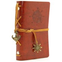 Leather Writing Journal Notebook, EvZ 5 Inches Vintage Nautical Spiral Blank String Diary Notepad Sketchbook Travel to Write in, Unlined Paper, Retro Pendants, Classic Embossed, Red Brown