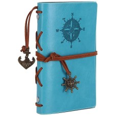Leather Writing Journal Notebook, EvZ 5 Inches Vintage Nautical Spiral Blank String Diary Notepad Sketchbook Travel to Write in, Unlined Paper, Retro Pendants, Classic Embossed, Sky Blue