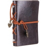 Leather Writing Journal Notebook, EvZ 5 Inches Vintage Nautical Spiral Blank String Diary Notepad Sketchbook Travel to Write in, Unlined Paper, Retro Pendants, Classic Embossed, Coffee