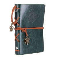 Leather Writing Journal Notebook, EvZ 5 Inches Vintage Nautical Spiral Blank String Diary Notepad Sketchbook Travel to Write in, Unlined Paper, Retro Pendants, Classic Embossed, Retro Green
