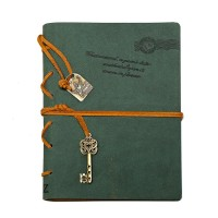 Leather Writing Journal Notebook, EvZ 7 Inches Key Bound Retro Vintage Notebook Diary Sketchbook Gifts with Unlined Travel Journals to Write in for Girls and Boys Notepad Guest Book, Dark Green