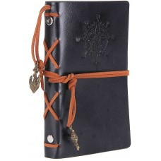 Leather Writing Journal Notebook, EvZ 7 Inches Vintage Nautical Spiral Blank String Diary Notepad Sketchbook Travel to Write in, Unlined Paper, Retro Pendants, Classic Embossed, Black