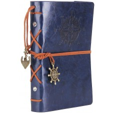 Leather Writing Journal Notebook, EvZ 7 Inches Vintage Nautical Spiral Blank String Diary Notepad Sketchbook Travel to Write in, Unlined Paper, Retro Pendants, Classic Embossed, Dark Blue