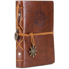 Leather Writing Journal Notebook, EvZ 7 Inches Vintage Nautical Spiral Blank String Diary Notepad Sketchbook Travel to Write in, Unlined Paper, Retro Pendants, Classic Embossed, Retro Brown