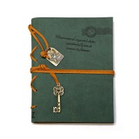 Leather Writing Journal Notebook, EvZ Classic Key Bound Retro Vintage Notebook Diary Sketchbook Gifts with Unlined Travel Journals to Write in for Girls and Boys Notepad Guest Book, Dark Green