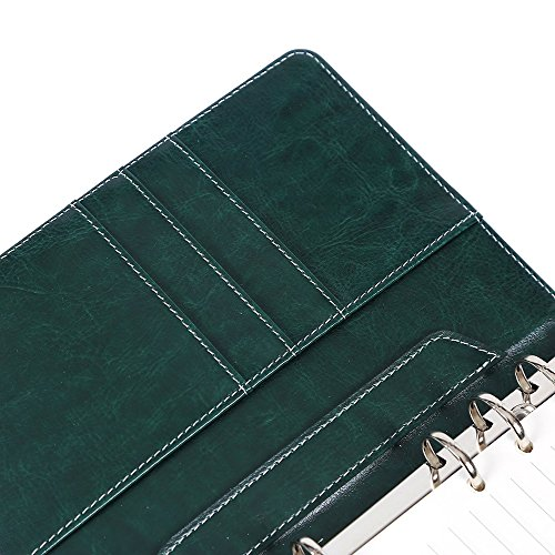 Leather Writing Notebook Organizer, Travel Journal, Vintage Business Binder  Refillable Steno Memo Notepad Planner Diary, 7 in, Lined Paper, Card