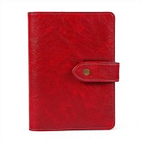 Leather Writing Notebook Organizer, Travel Journal, Vintage Business Binder Refillable Steno Memo Notepad Planner Diary, 7 in, Lined Paper, Card Slots, Pen Holder, Adjustable Snaps, Retro Red