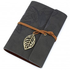 Vintage Black PU Leather Cover Loose Leaf Blank Notebook Journal Diary Gift