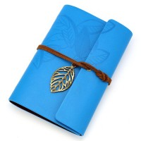 Vintage Blue PU Leather Cover Loose Leaf Blank Notebook Journal Diary Gift