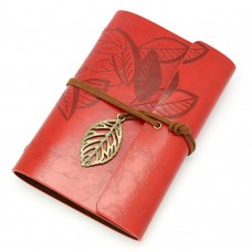 Vintage Dark Red PU Leather Cover Loose Leaf Blank Notebook Journal Diary Gift