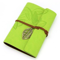 Vintage Light Green PU Leather Cover Loose Leaf Blank Notebook Journal Diary Gift