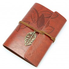 Vintage Red Brown PU Leather Cover Loose Leaf Blank Notebook Journal Diary Gift